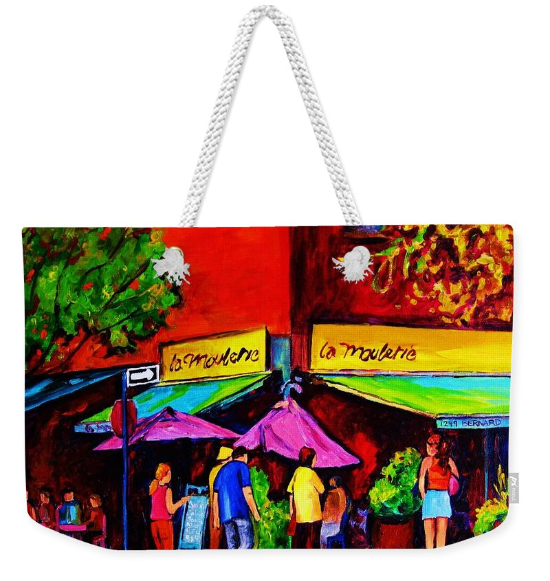 Cafe Scenes Weekender Tote Bag featuring the painting Cafe La Moulerie On Bernard by Carole Spandau