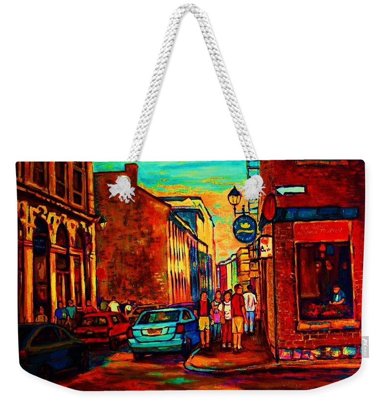 Vieux Port Weekender Tote Bag featuring the painting Cafe Le Vieux Port by Carole Spandau