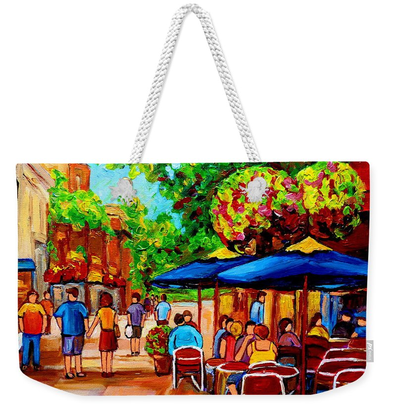 Cafe On Prince Arthur In Montreal Weekender Tote Bag featuring the painting Cafe On Prince Arthur In Montreal by Carole Spandau
