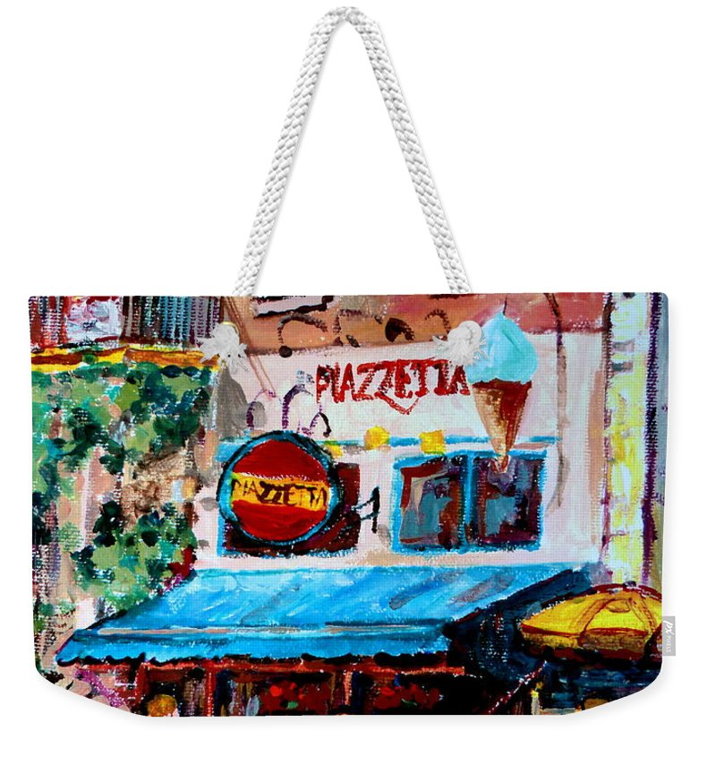 Cafes On St Denis Paris Cafes Weekender Tote Bag featuring the painting Cafe Piazzetta St Denis by Carole Spandau