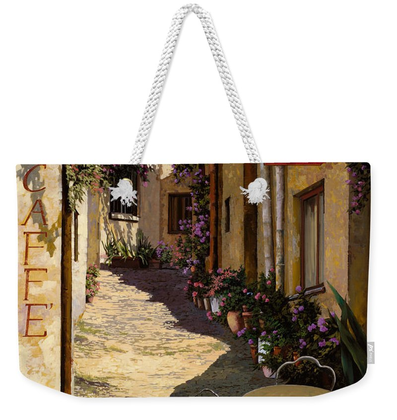 Caffe Weekender Tote Bag featuring the painting Cafe Piccolo by Guido Borelli