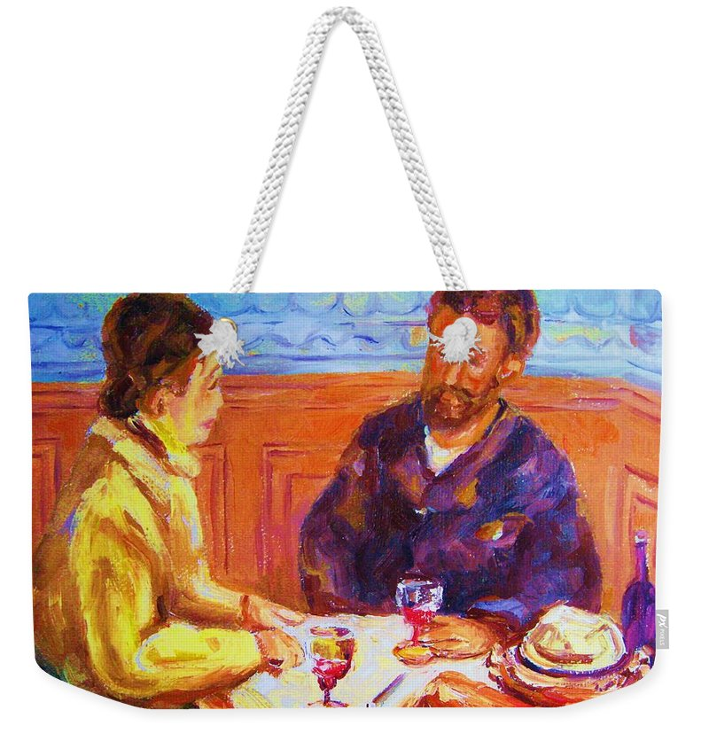 Cafes Weekender Tote Bag featuring the painting Cafe Renoir by Carole Spandau