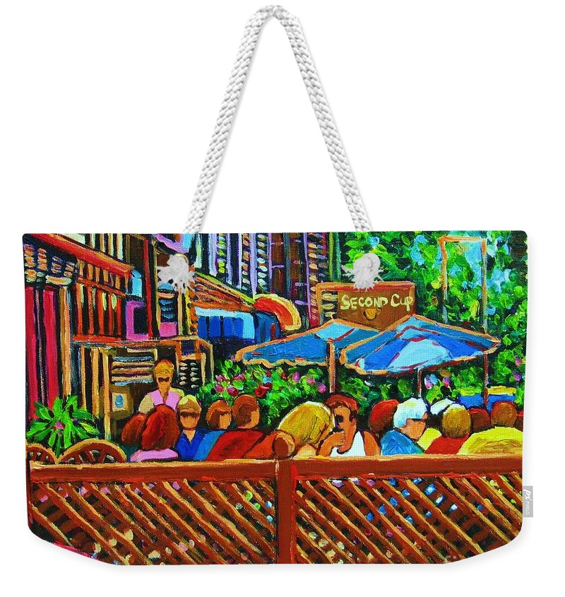 Cafes Weekender Tote Bag featuring the painting Cafe Second Cup by Carole Spandau