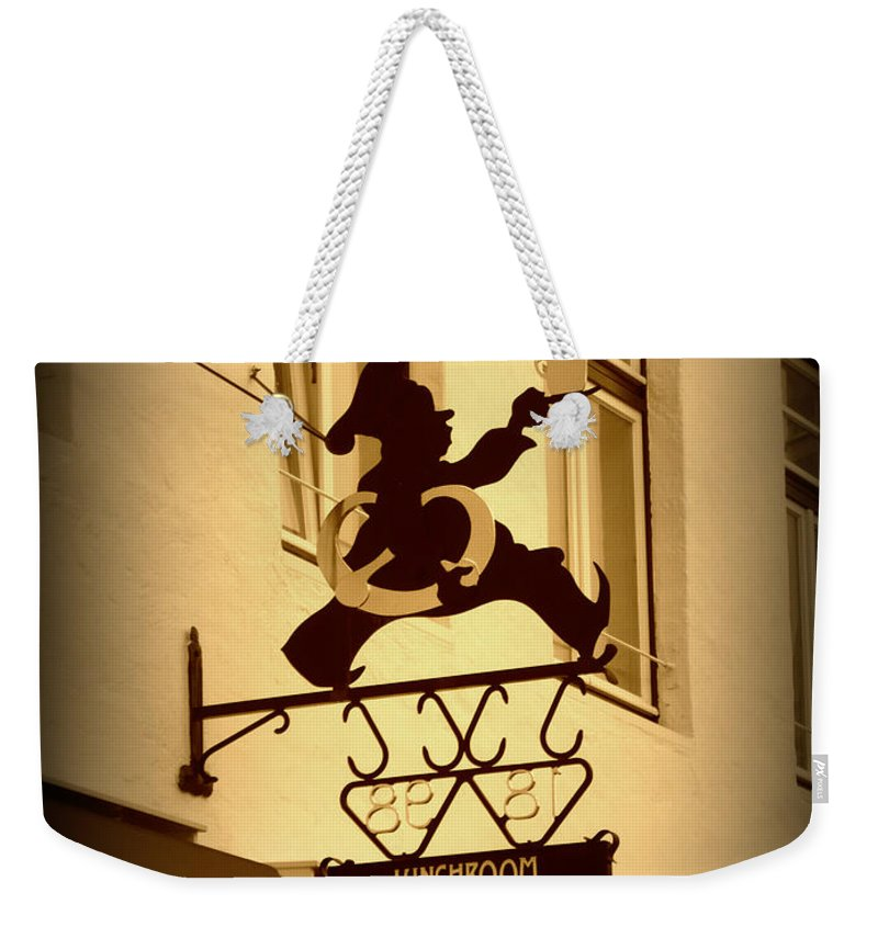 Sign Weekender Tote Bag featuring the photograph Cafe Sign In Holland by Carol Groenen