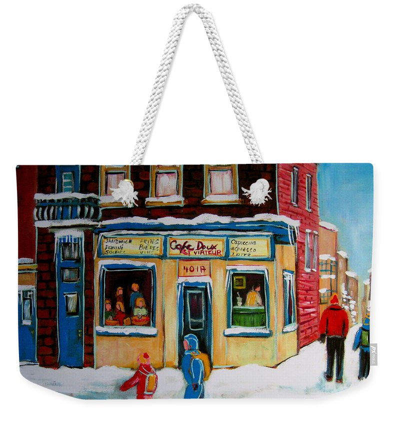Cafe St. Viateur Montreal Weekender Tote Bag featuring the painting Cafe St. Viateur Montreal by Carole Spandau