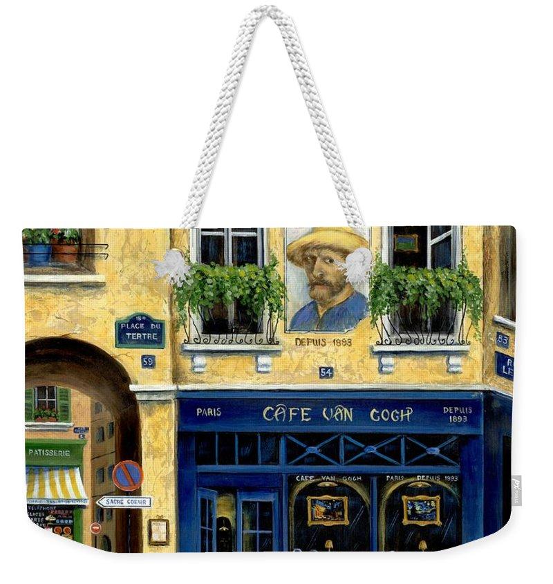 Europe Weekender Tote Bag featuring the painting Cafe Van Gogh by Marilyn Dunlap