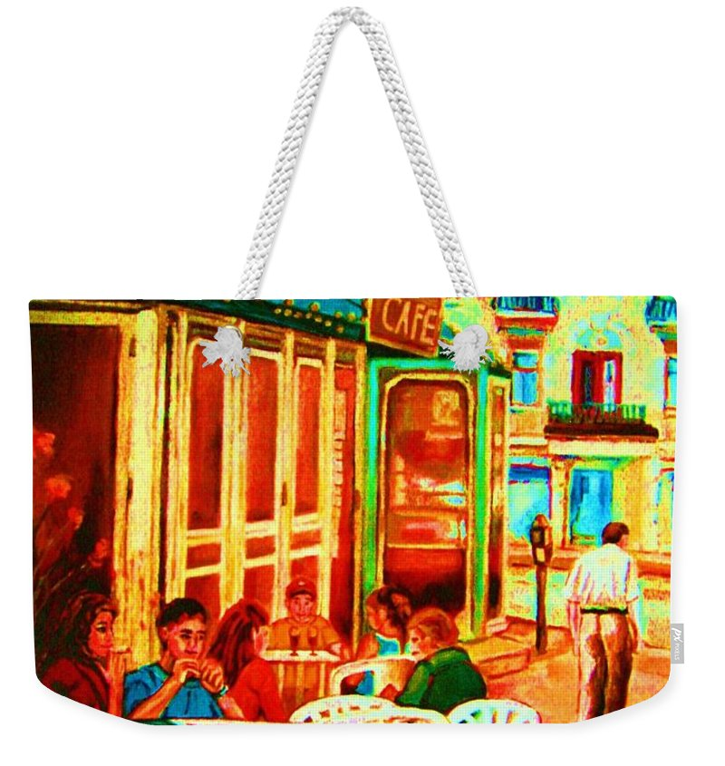 Cafes Weekender Tote Bag featuring the painting Cafe Vienne by Carole Spandau