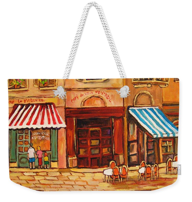 Cafe Vieux Montreal Street Scenes Weekender Tote Bag featuring the painting Cafe Vieux Montreal by Carole Spandau