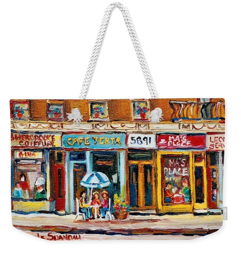 Cafes Weekender Tote Bag featuring the painting Cafe Yenta And Ma's Place by Carole Spandau