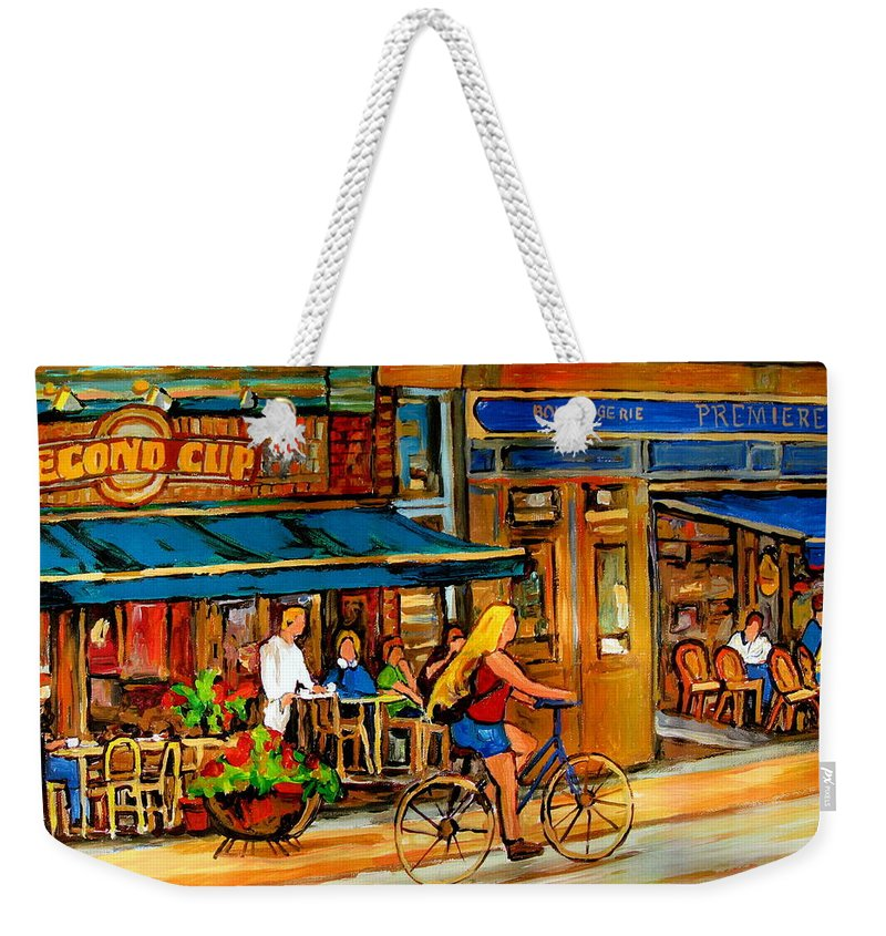 Cafes Weekender Tote Bag featuring the painting Cafes With Blue Awnings by Carole Spandau