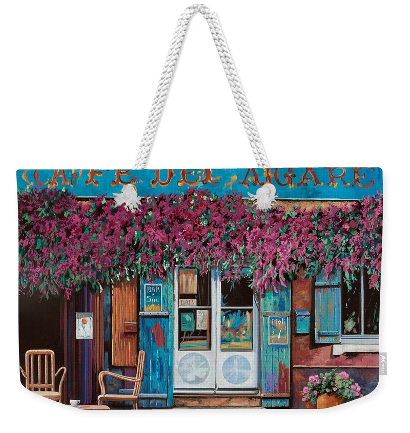 Caffe' Weekender Tote Bag featuring the painting caffe del Aigare by Guido Borelli