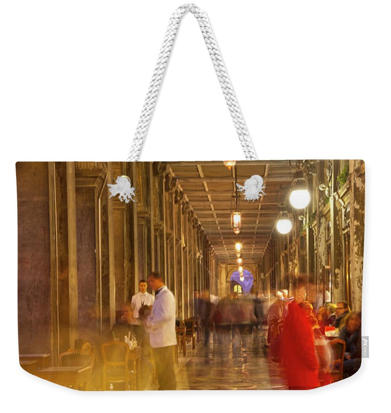 Venice Weekender Tote Bag featuring the photograph Caffe Florian Arcade by Heiko Koehrer-Wagner