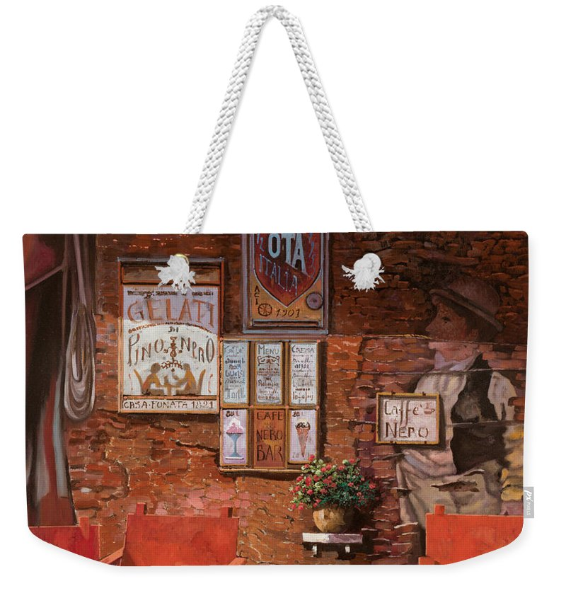 Caffe' Weekender Tote Bag featuring the painting caffe Nero by Guido Borelli