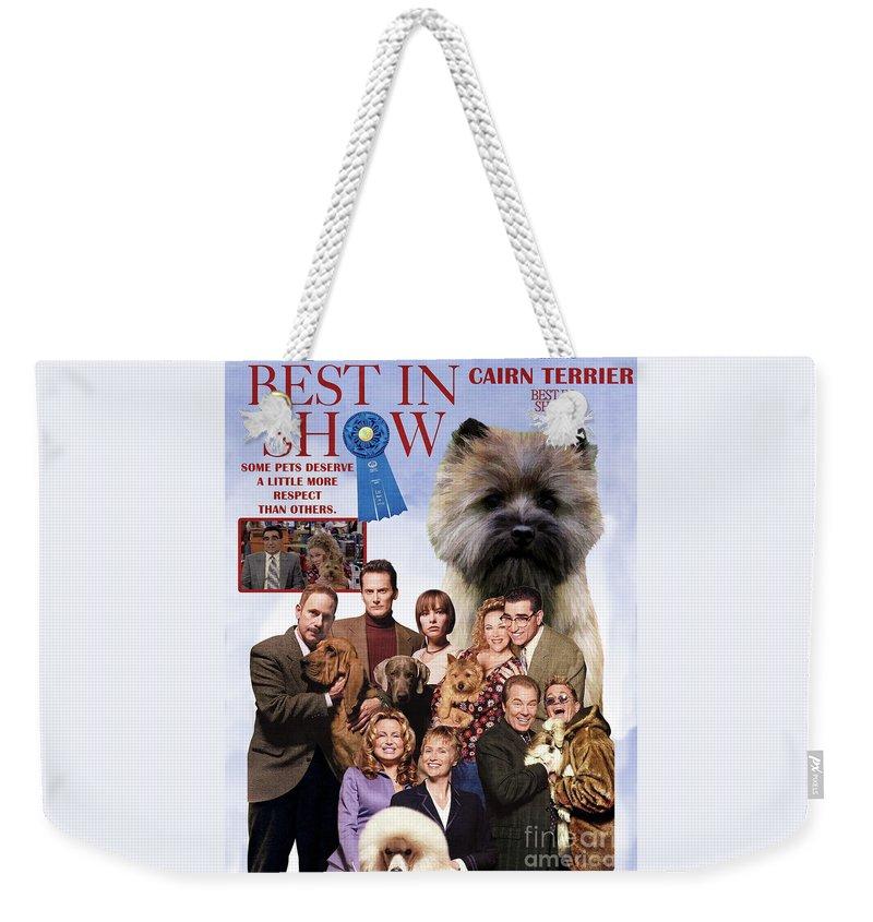 Cairn Terrier Weekender Tote Bag featuring the painting Cairn Terrier Art Canvas Print - Best In Show Movie Poster by Sandra Sij