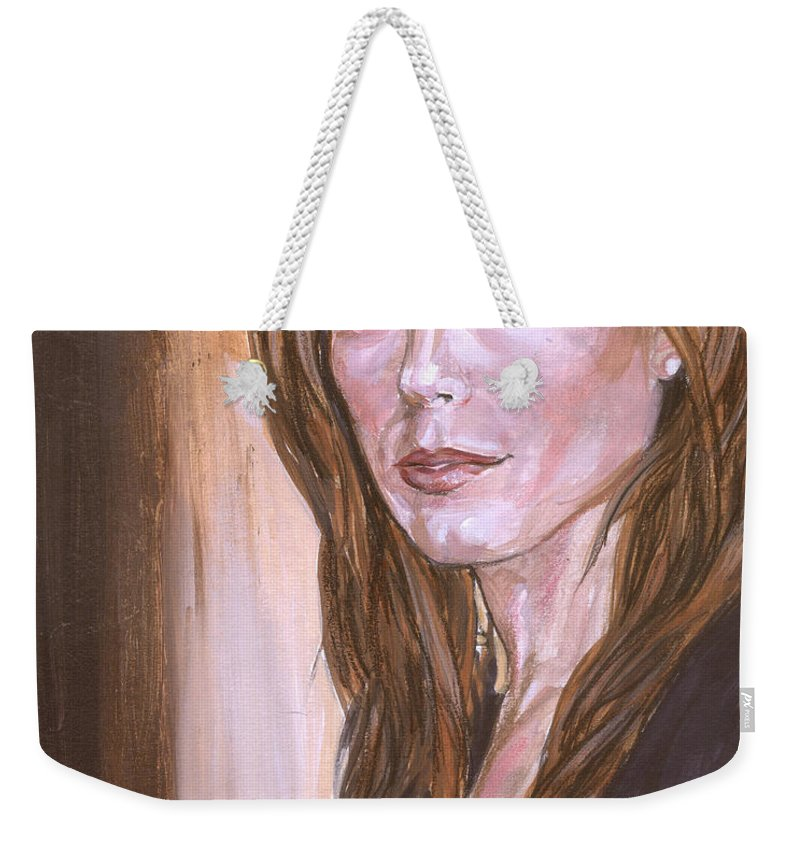 Caitlin Keats Weekender Tote Bag featuring the painting Caitlin Keats by Bryan Bustard