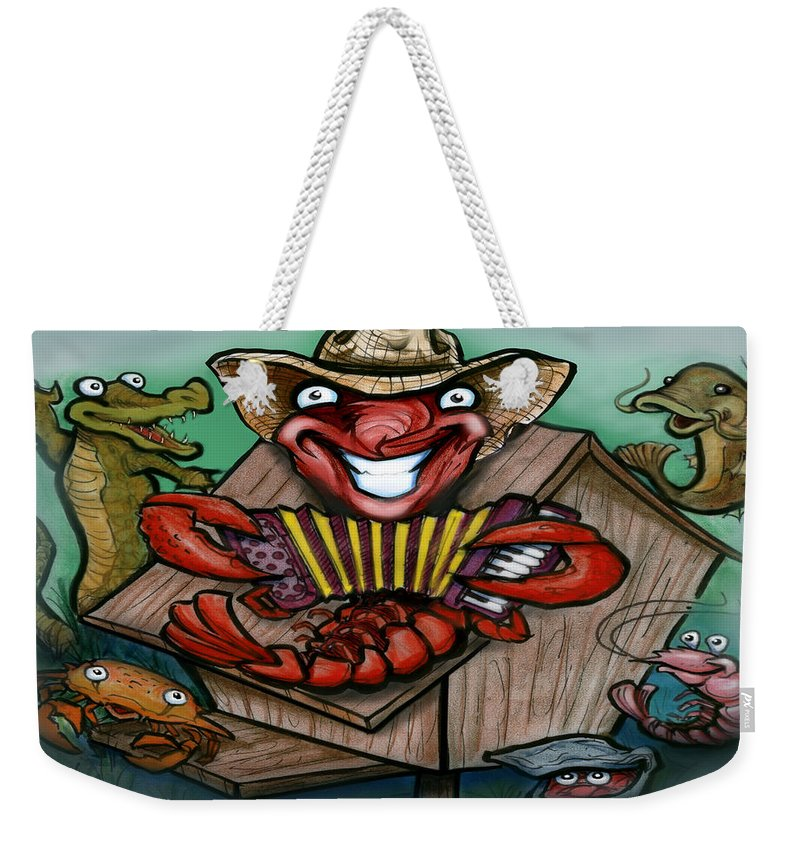 Cajun Weekender Tote Bag featuring the greeting card Cajun Critters by Kevin Middleton
