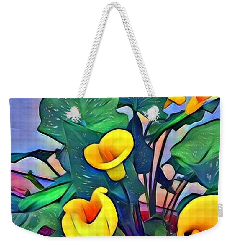 Cala Lily Weekender Tote Bag featuring the photograph Cala Lily Caliente by Patricia Rex