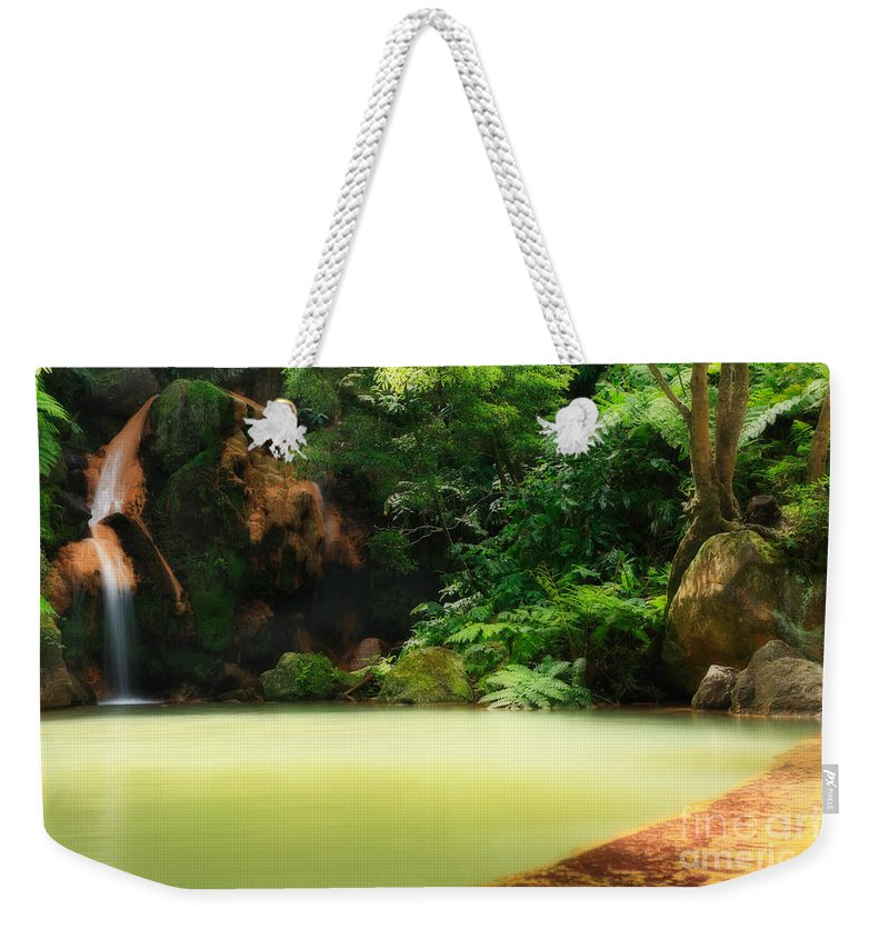 Azoren Weekender Tote Bag featuring the photograph Caldeira Velha Thermal Pool by Gaspar Avila