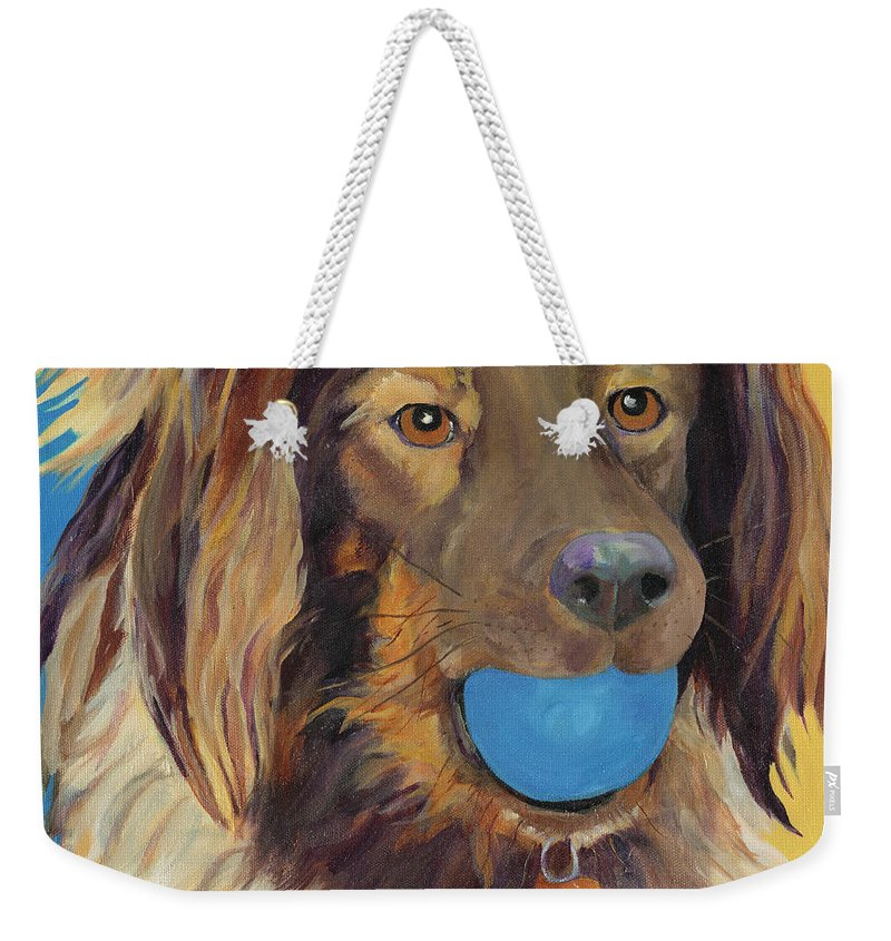 Dog Art Weekender Tote Bag featuring the painting Caleigh by Pat Saunders-White
