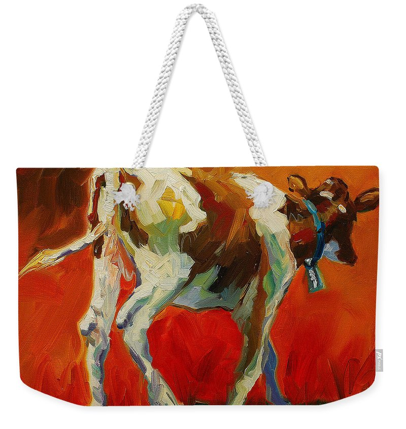 Painting Weekender Tote Bag featuring the painting Calf Baby by Diane Whitehead