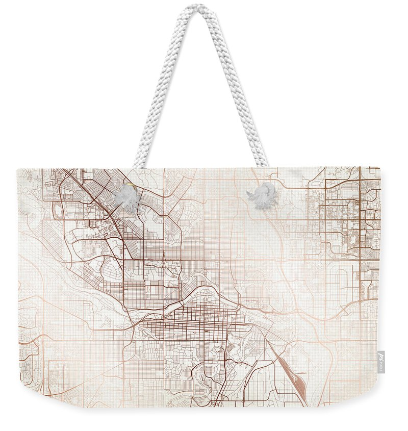 Map Weekender Tote Bag featuring the digital art Calgary Street Map Colorful Copper Modern Minimalist by Jurq Studio