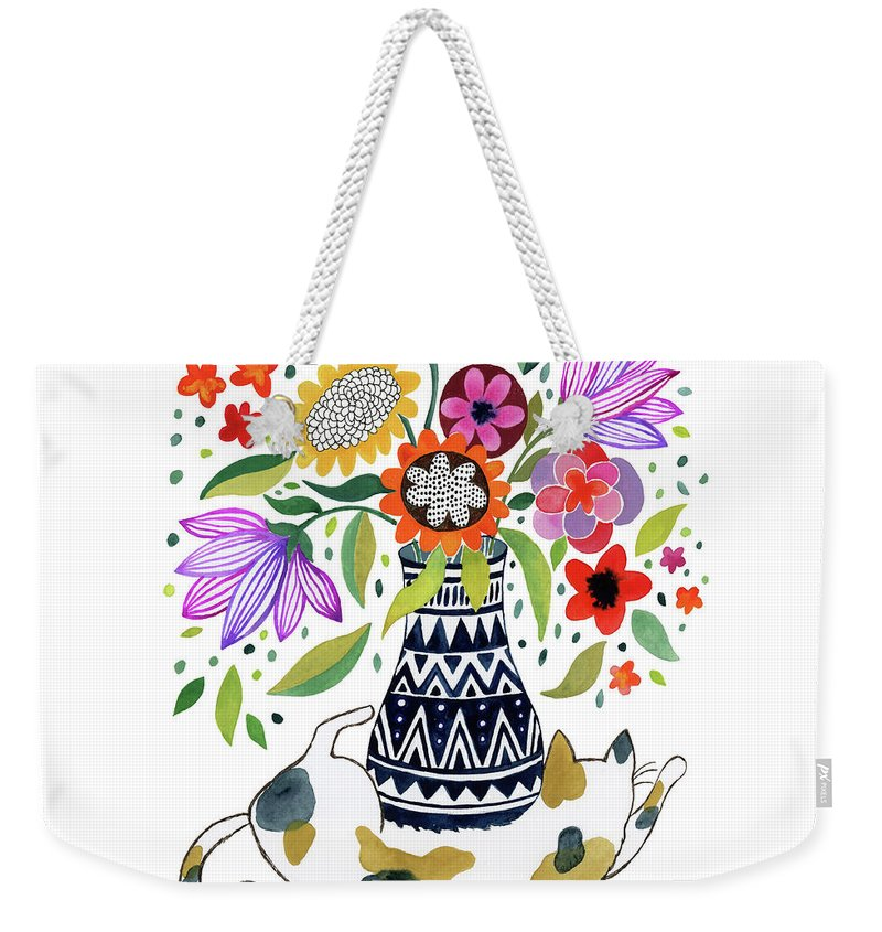 Flowers Weekender Tote Bag featuring the painting Calico Bouquet by Janet Broxon