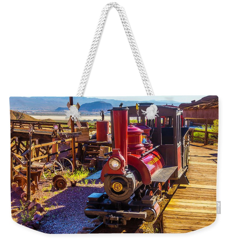 Calico Weekender Tote Bag featuring the photograph Calico Ghost Town Train by Garry Gay