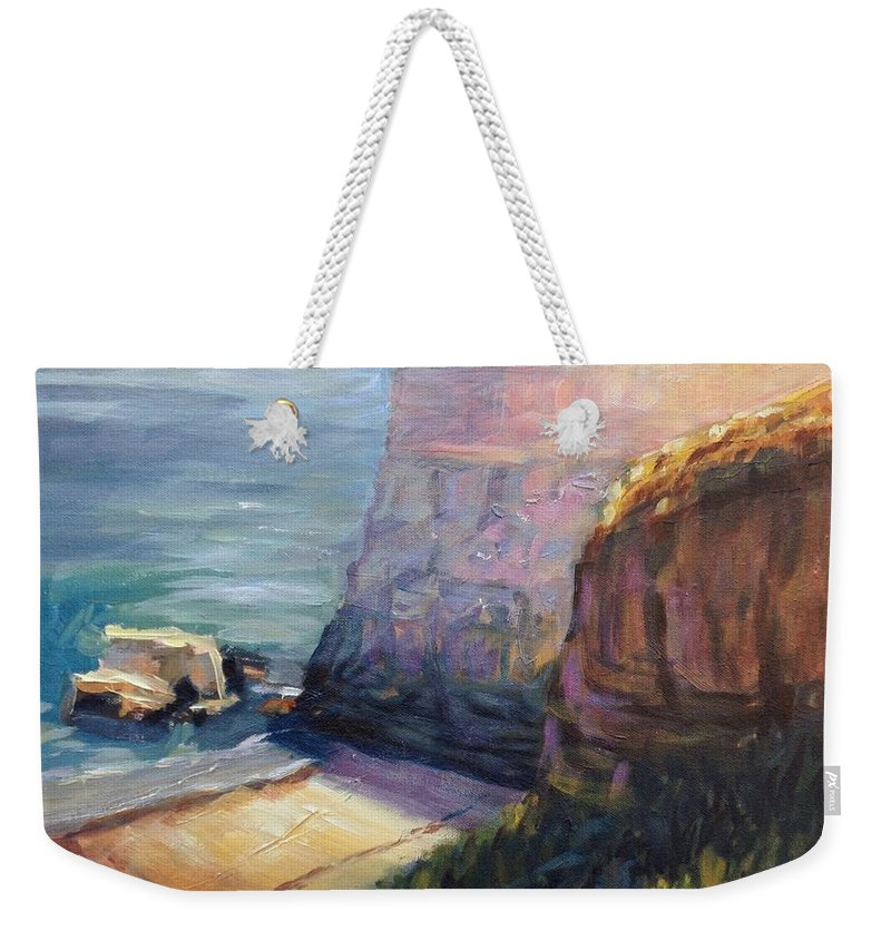 Landscape Weekender Tote Bag featuring the painting California Cliffs by Elena Sokolova