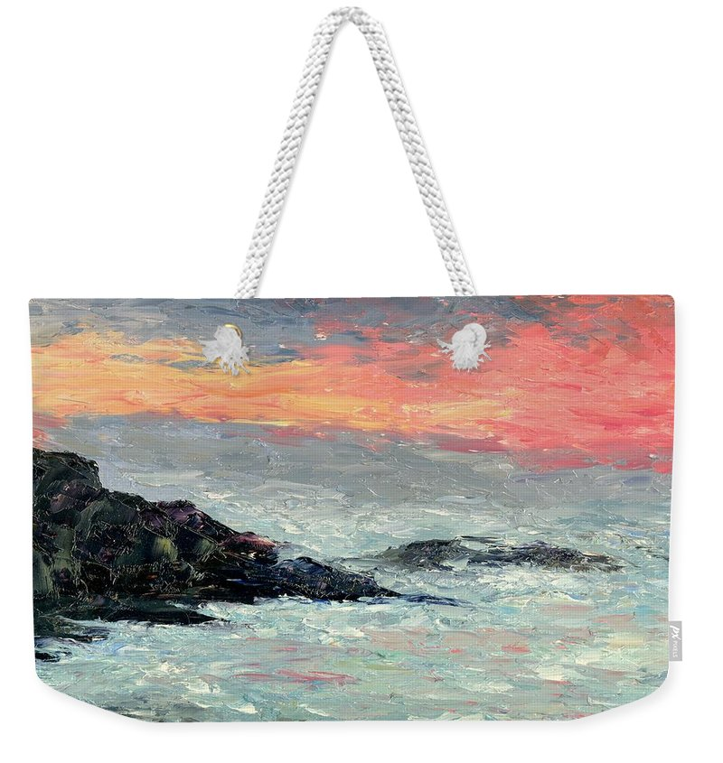 Seascape Weekender Tote Bag featuring the painting California Coast by Gail Kirtz