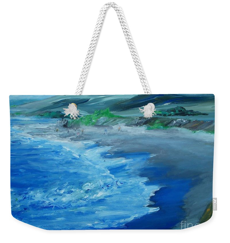 California Coast Weekender Tote Bag featuring the painting California Coastline Impressionism by Eric Schiabor