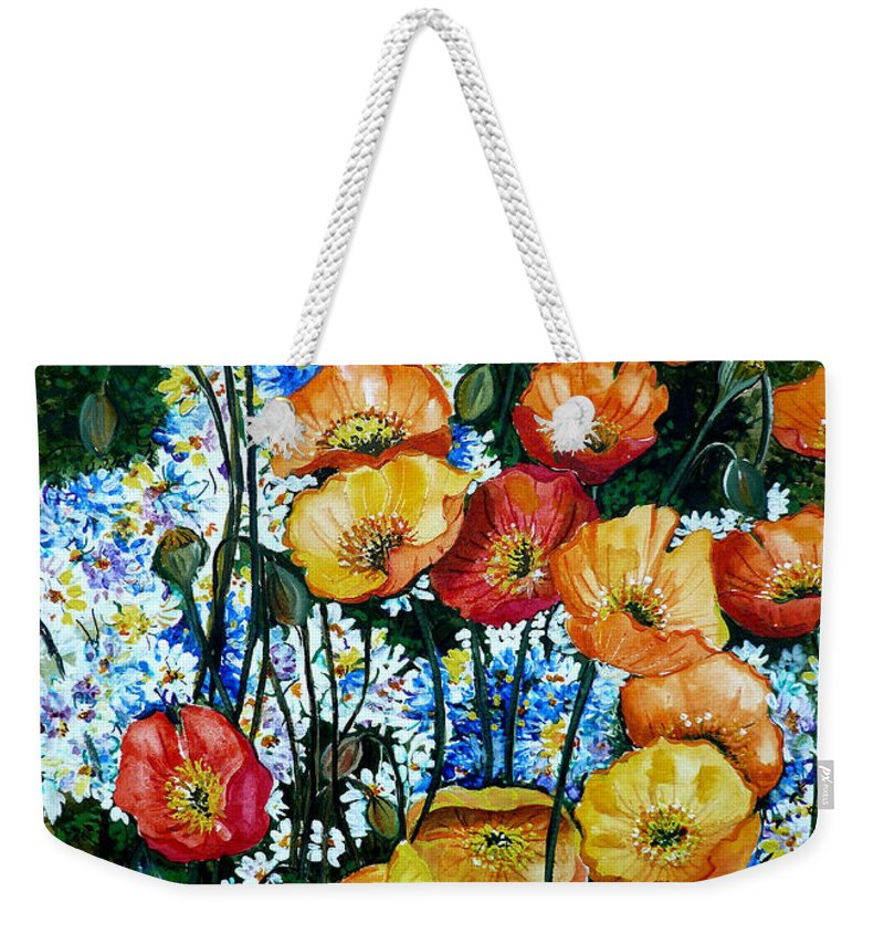 Poppy Painting Flower Painting Floral Painting California Poppy Painting Yellow Painting Orange Painting Botanical Painting Wild Poppy Painting Weekender Tote Bag featuring the painting California Dreamz by Karin Dawn Kelshall- Best