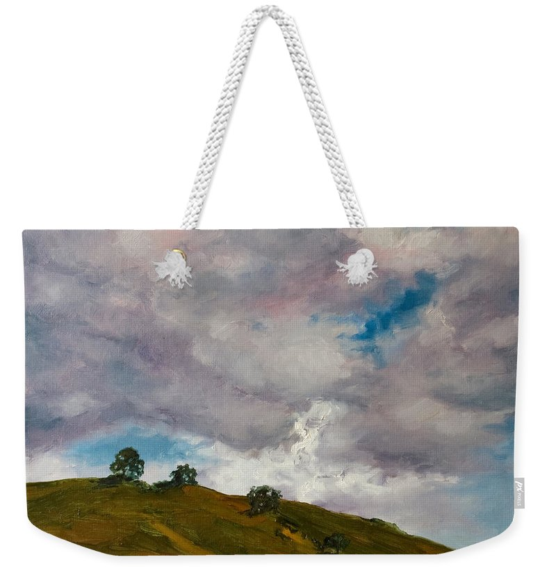 Sky Weekender Tote Bag featuring the painting California Hills by Rick Nederlof