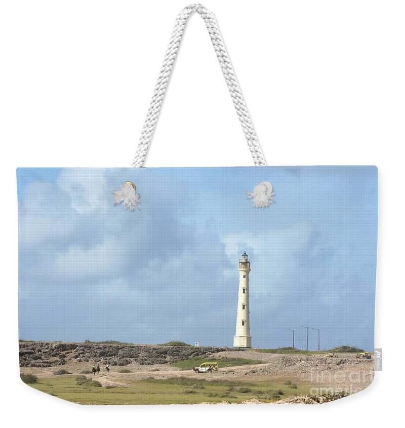 Aruba Weekender Tote Bag featuring the photograph California Lighthouse by Thomas Marchessault