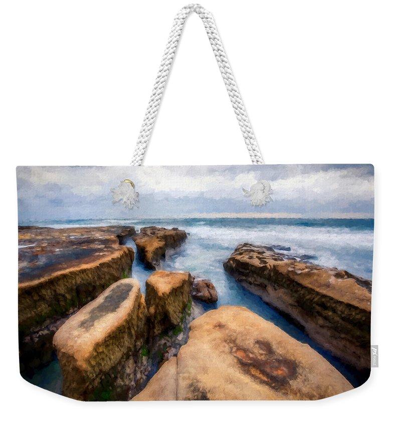 Rocks Weekender Tote Bag featuring the digital art California Rocks by Ronald Bolokofsky