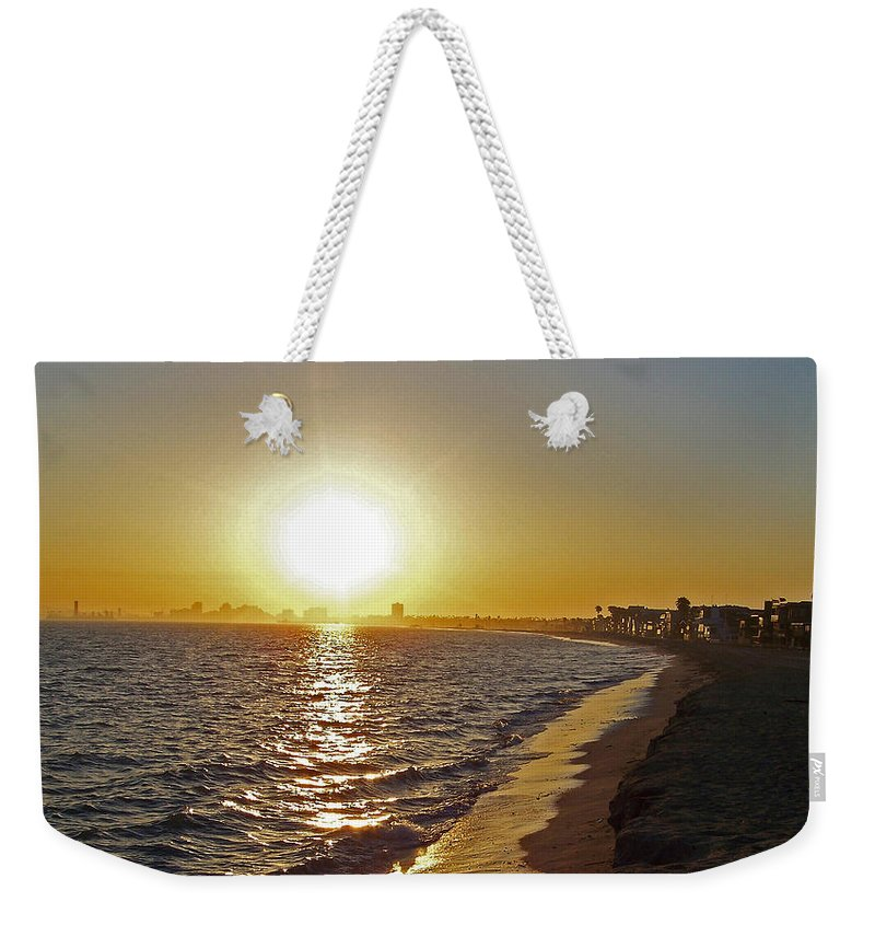 Beaches Weekender Tote Bag featuring the photograph California Sunset by Ernie Echols