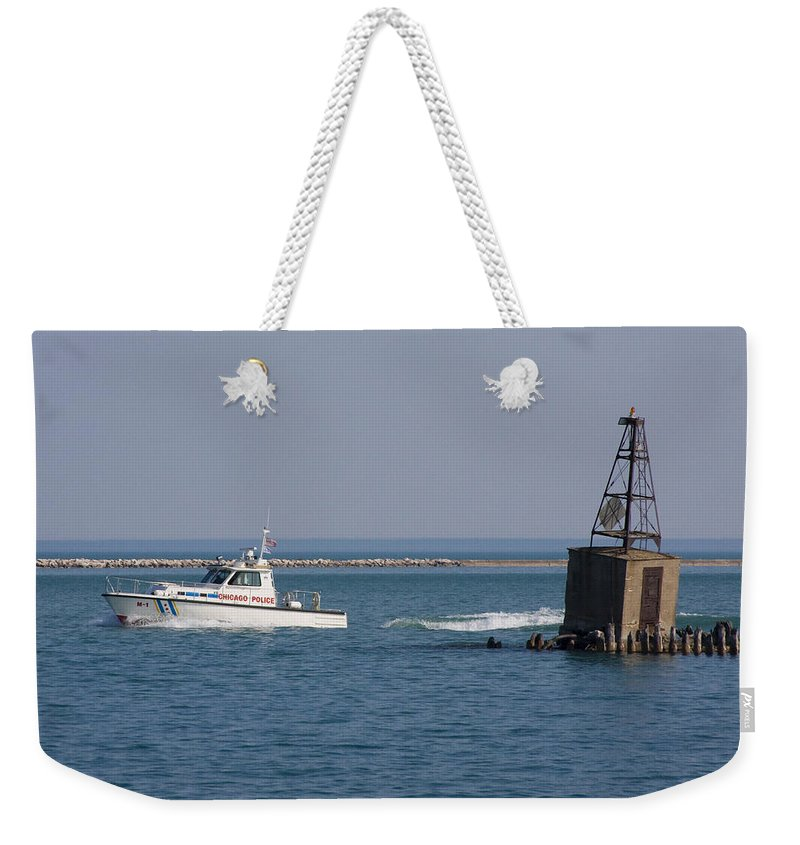 Chicago Windy City Police Lake Michigan Water Boat Fast Wave Wake Blue Sky Weekender Tote Bag featuring the photograph Call Of Duty by Andrei Shliakhau