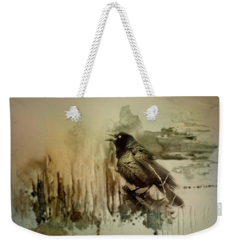 Grackle Weekender Tote Bag featuring the photograph Call Of The Grackle by Sue Capuano