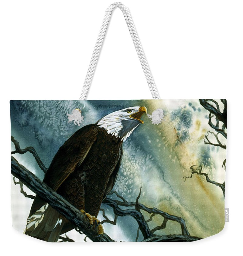 Bald Eagle Weekender Tote Bag featuring the painting Call Of The Wild by Dale Cooper