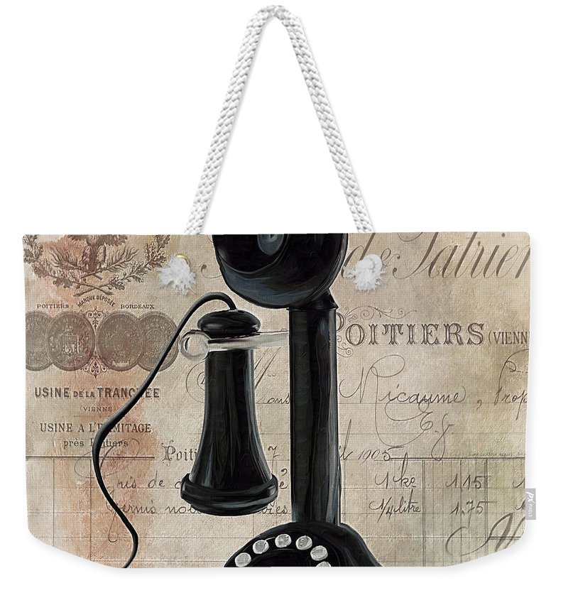 Vintage Phone Weekender Tote Bag featuring the painting Call Waiting I by Mindy Sommers