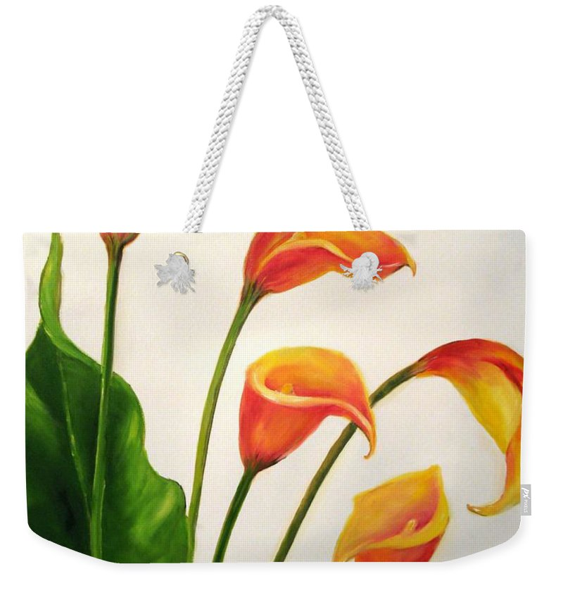Calla Lilies Weekender Tote Bag featuring the painting Calla Lilies by Carol Sweetwood