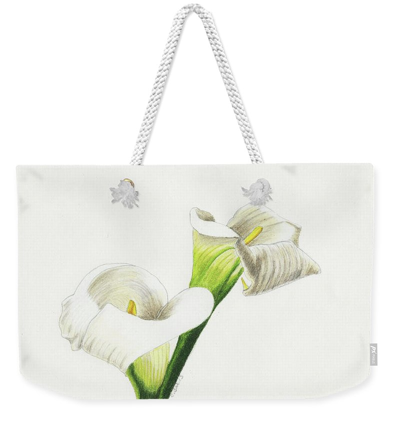 Lilies Weekender Tote Bag featuring the drawing Calla Lilies No 1 by Christina Beck