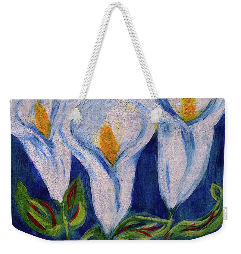 Calla Lily Weekender Tote Bag featuring the painting Calla Lily, Impressionism Art by Kathy Symonds