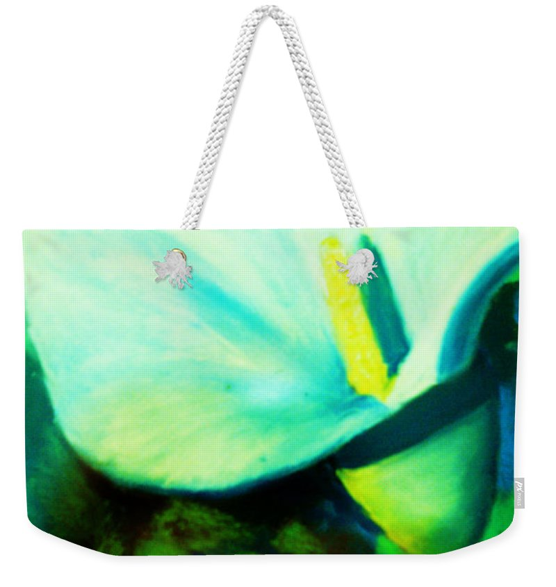 White Calla Lily Weekender Tote Bag featuring the painting Calla Lily by Melinda Etzold
