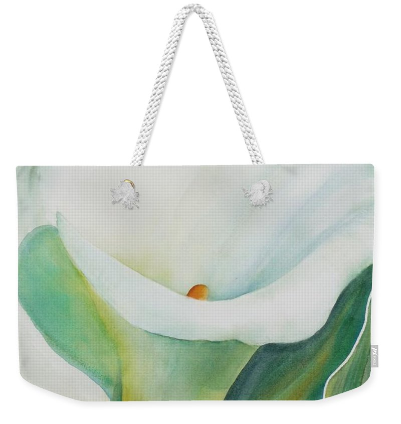 Flower Weekender Tote Bag featuring the painting Calla Lily by Ruth Kamenev