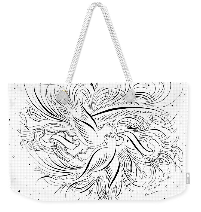Calligraphic Weekender Tote Bag featuring the mixed media Calligraphic Love Birds by Dwayne Hamilton