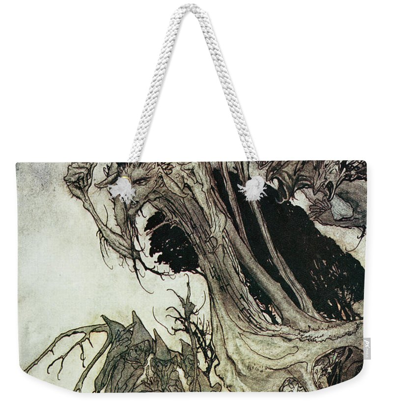Arthur Rackham Weekender Tote Bag featuring the drawing Calling Shapes And Beckoning Shadows Dire by Arthur Rackham