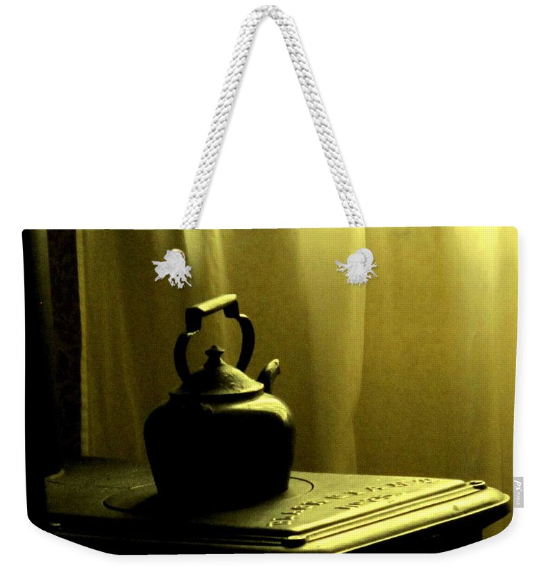 Kettle Weekender Tote Bag featuring the photograph Calling The Kettle Black by Ian MacDonald