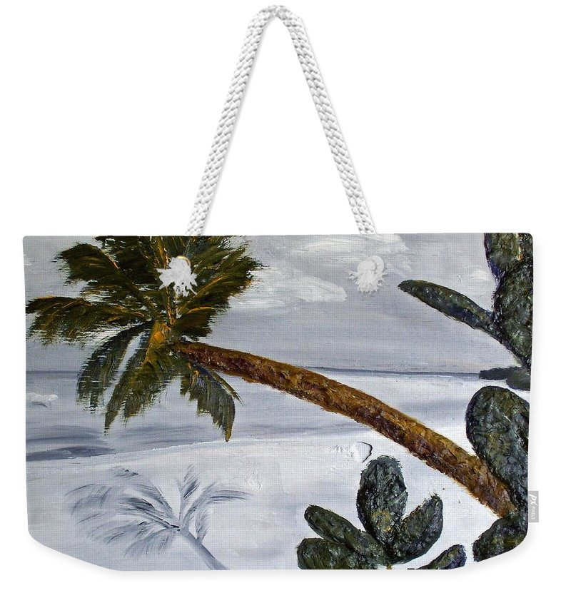 Still Life Paintings Weekender Tote Bag featuring the painting Calm Beach Palm by Leslye Miller