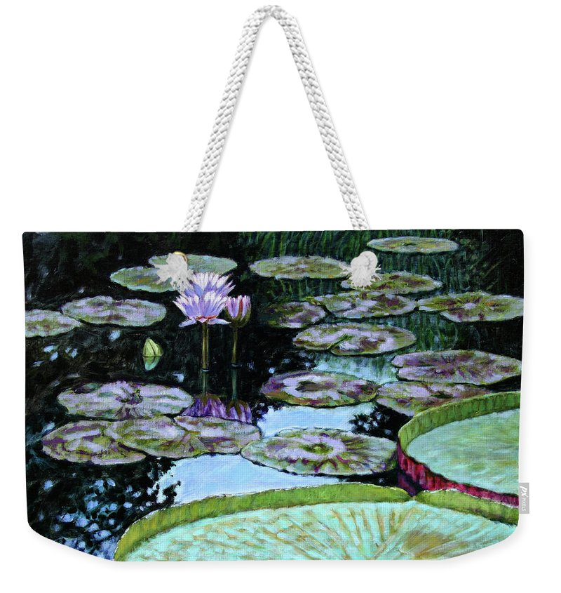 Water Lilies Weekender Tote Bag featuring the painting Calm Reflections by John Lautermilch