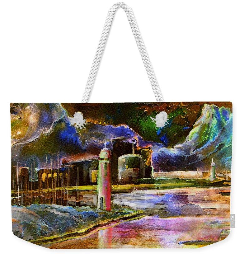 Calpe Weekender Tote Bag featuring the painting Calpe 02 Spain by Miki De Goodaboom